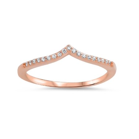 Rose Gold- Tone Pointed Cubic Zirconia Ring Sterling Silver 925