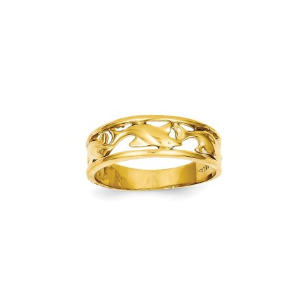 Solid 14k Yellow Gold Triple Dolphin Wedding Band Ring (6mm) - Size 4