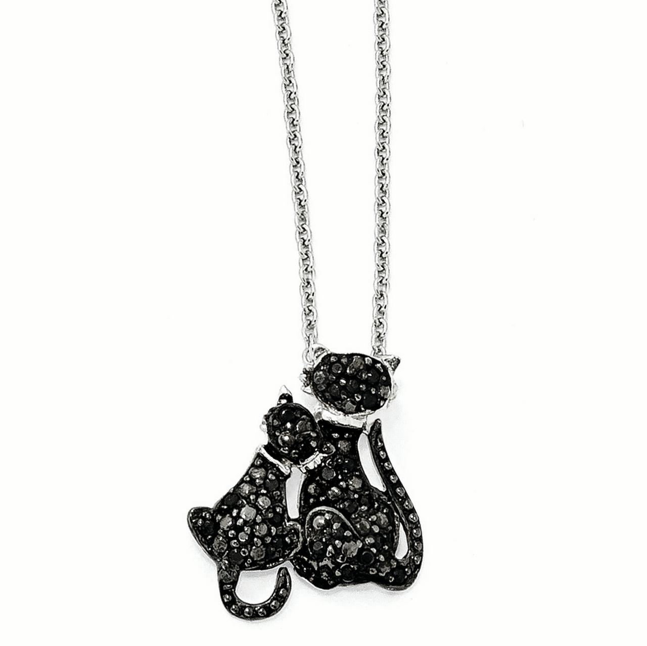 """Cute Cat Accent Charm Animal Pendant Open Heart Necklace 925 Sterling Silver 18/"""""""