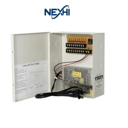 Nexhi NXH-PD1209-10A 9-Port Power Distribution Box with 10AMPs,12Volt - CE Certified for For CCTV Camera, PTZ, IR Illuminators, Video Process, Access