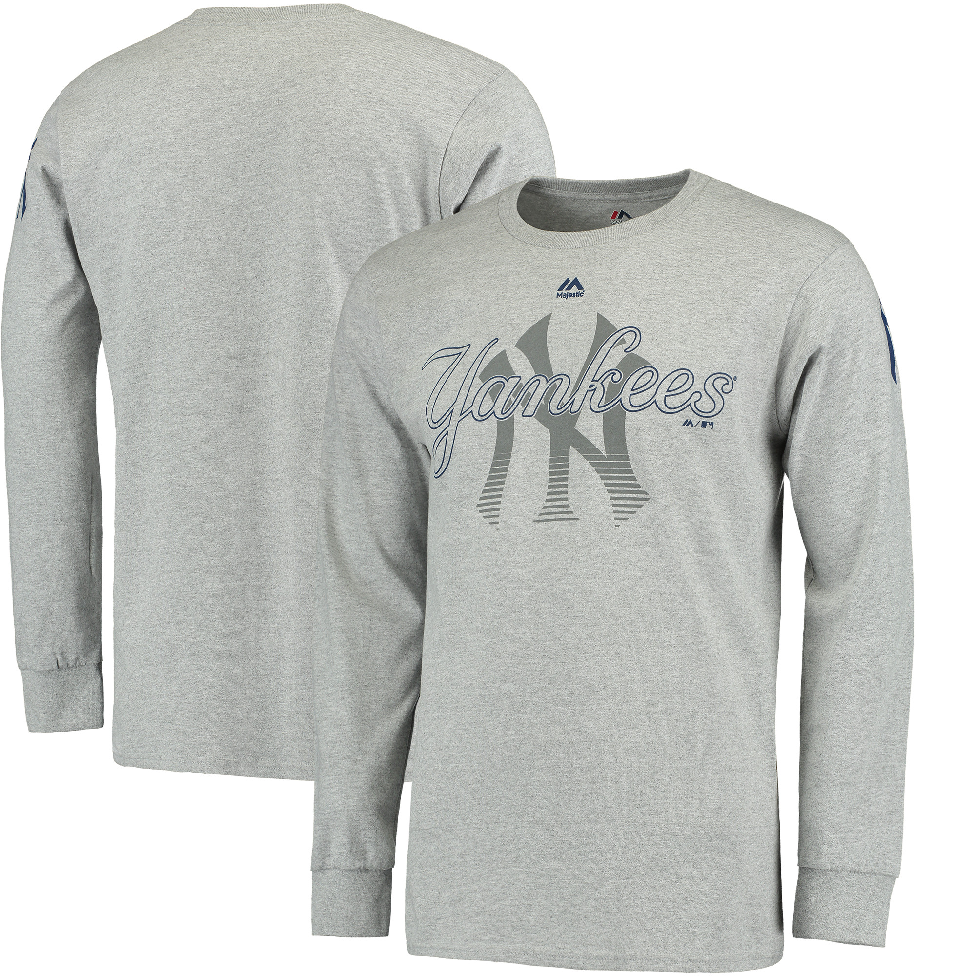 New York Yankees Majestic Big & Tall Two Hit Long Sleeve T-Shirt - Heathered Gray
