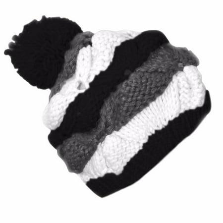 - Peach Couture Knit Striped Cozy Warm Cable Knit Winter Crochet Cap Ski Hat Beret