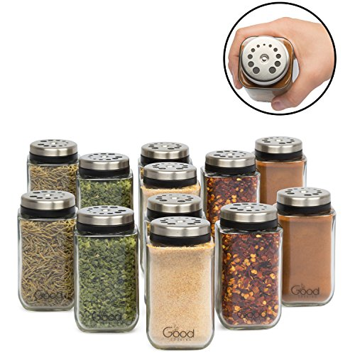 Adjustable Glass Spice Jars- Set of 12 Premium Seasoning Shaker Rub Container Tins with 6 Pouring Sizes by