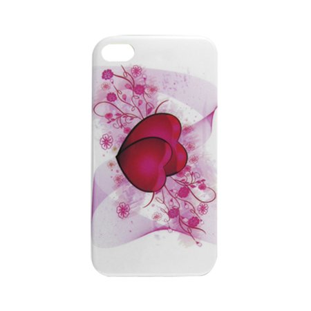 Unique Bargains Hard Plastic White Red IMD Heart Pattern Shield Cover for iPhone 4 4S