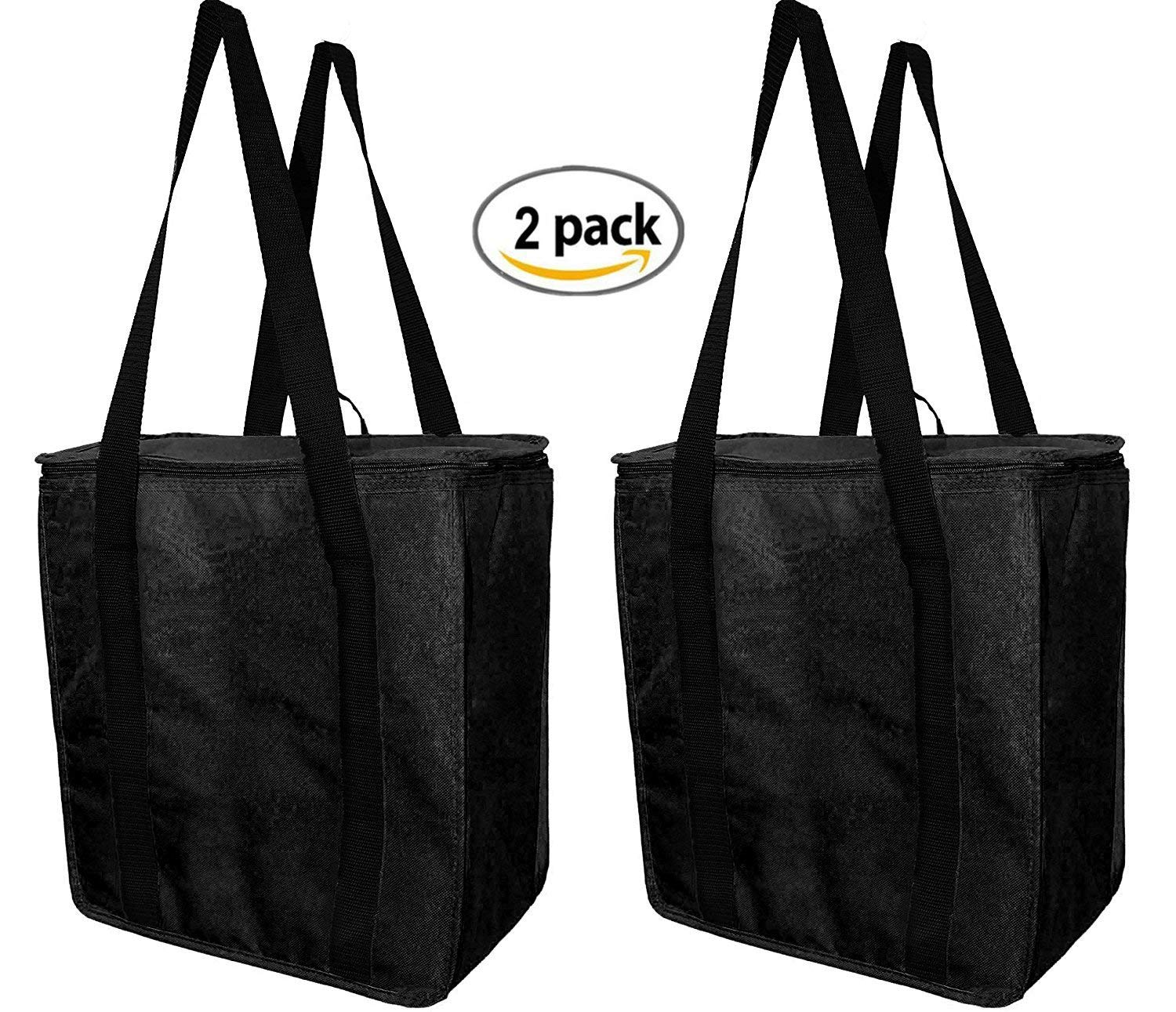 55ec9f644c5f Earthwise Reusable Insulated Grocery Bags Heavy Duty Nylon Thermal Cooler  Tote WATERPROOF In all Black w/ZIPPER Closure KEEPS FOOD HOT OR COLD (2 ...