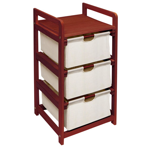 Cherry Three Drawer Hamper/Storage Unit