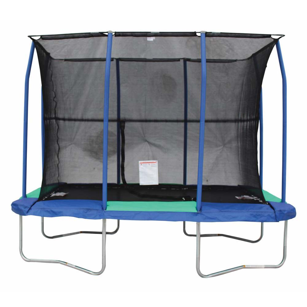 JumpKing Rectangular 7 x 10 Foot Trampoline, with Safety Enclosure, Blue