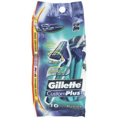 2 Pack - Gillette Custom Plus Pivot Disposable Razors 10 ea