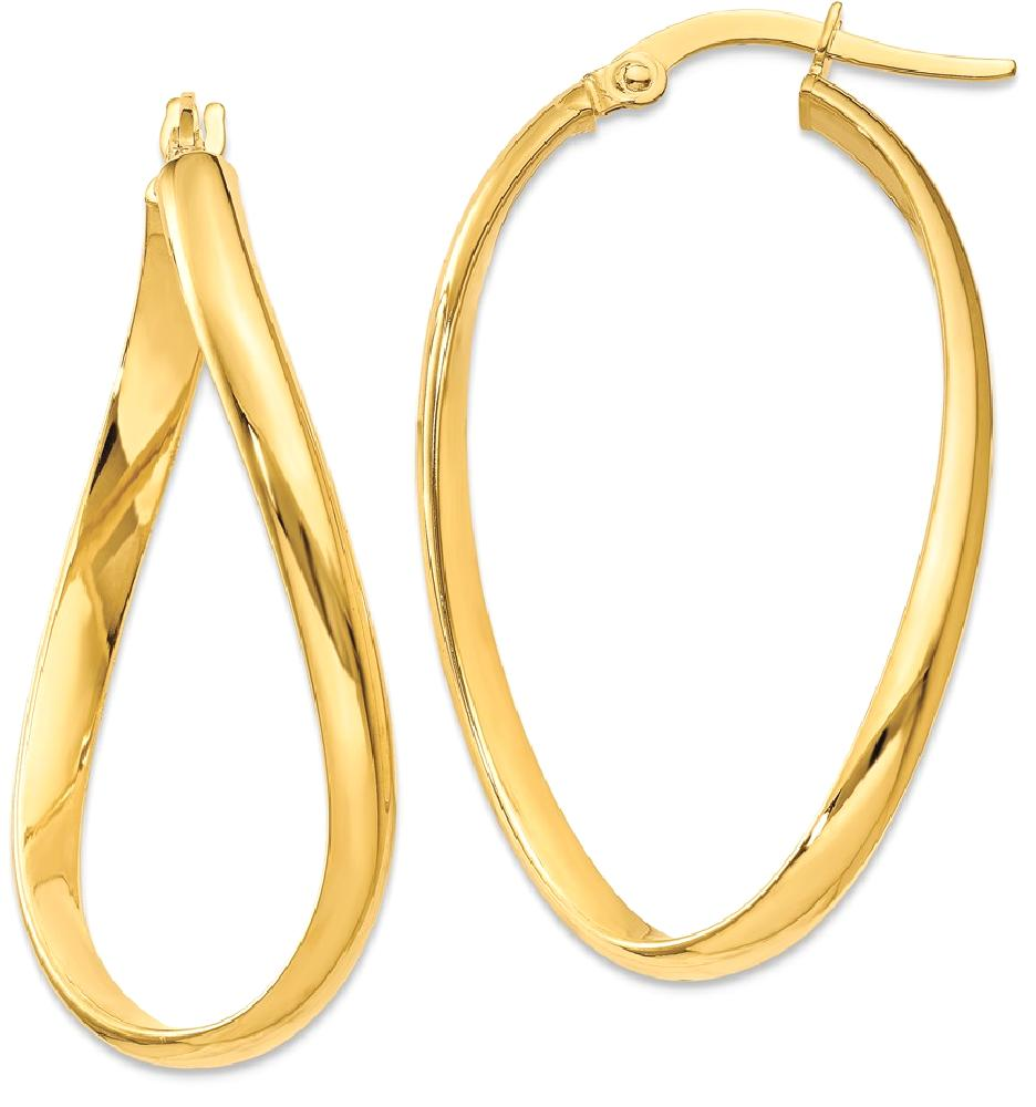 ICE CARATS ICE CARATS 14kt Yellow Gold Twisted Oval Hoop Earrings Ear Hoops Set Fine Jewelry Ideal Gifts For Women Gift... by IceCarats Designer Jewelry Gift USA