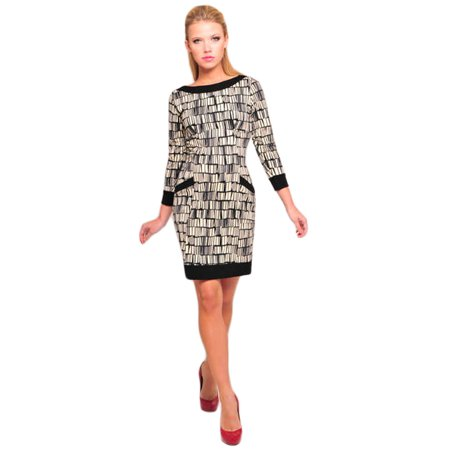 OLIAN Maternity Women's Black Ivory Abstract Print Gisela (Abstract Printed Dress)