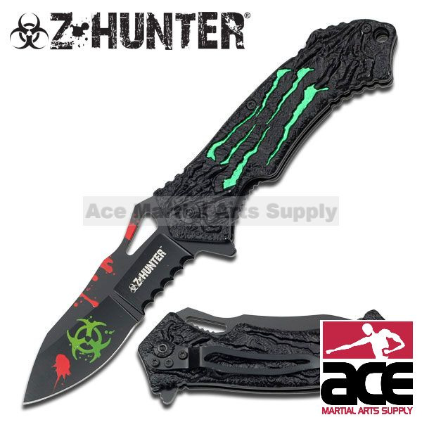 ZOMBIE HUNTER Green MONSTER CLAWS Spring Assisted Opening BIOHAZARD Pocket Knife by