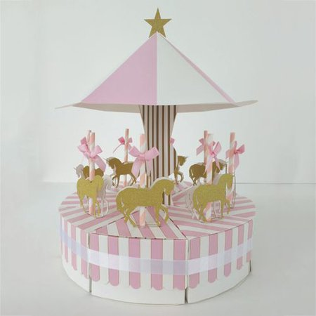 KABOER Carousel Candy Boxes Set Wedding Favor Ribbon Gift Box Baby Shower Party Decor