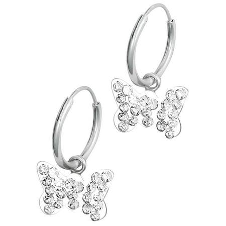 Hypoallergenic Sterling Silver Crystal Erfly Tiny Hoop Earrings For Kids Nickel Free