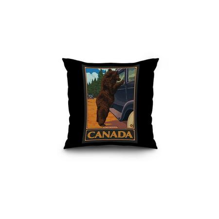 Canada - Hungry Bear - Lantern Press Original Poster (16x16 Spun Polyester Pillow, Black Border)