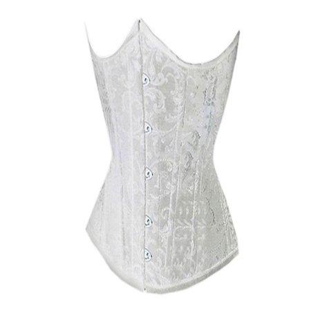 2ff3ac1c81b77 MUKA - Muka Women s Boned Plus Size Overbust   Underbust Corset Bustier  Waist Cincher-White Brocade 25-XL - Walmart.com