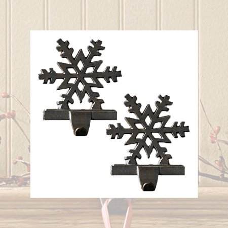 Snowflake Stocking Hangers Holders Cast Iron Black or White Set of 2 - Dog Stocking Holder
