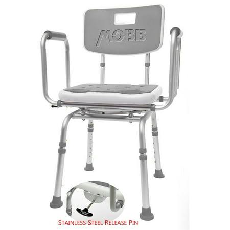 Sensational Mobb Premium Bathroom Swivel Shower Chair Bath Bench With Back 360 Degree Swivel Seat With Locking Mechanism Theyellowbook Wood Chair Design Ideas Theyellowbookinfo