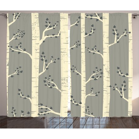 Birch Tree Curtains (Gray  Curtains 2 Panels Set, Elegant Birch Tree Branches Vintage Style Contemporary Illustration of Nature Boho Art Deco, Living Room Bedroom Decor, Grey Cream, by)