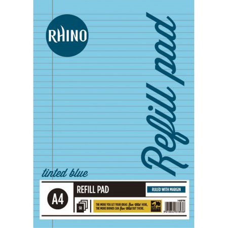 A4 Special Education Refill Pad Blue Tinted Paper 100 Pages (50 Leaf) 8mm Ruled & Margin. (Pack of 6)