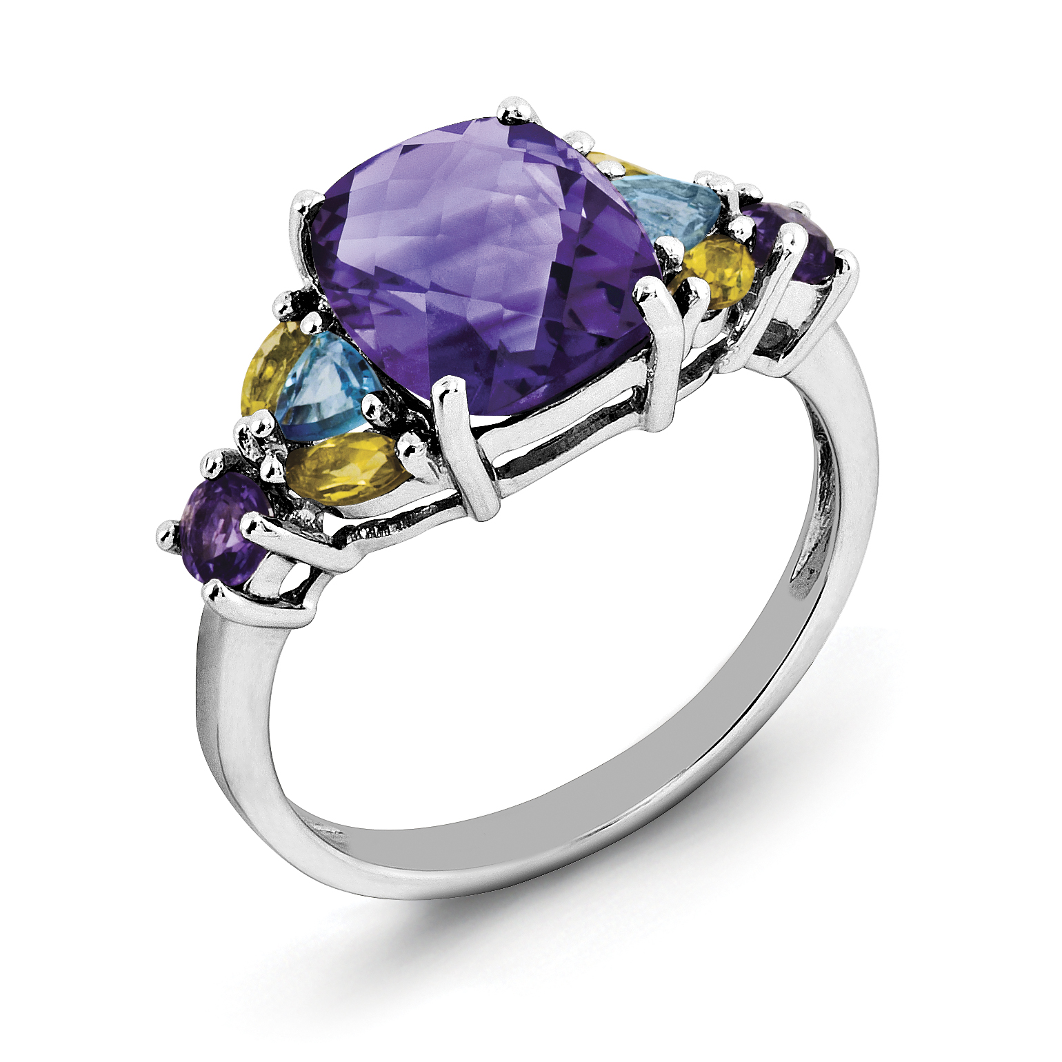 Sterling Silver Rhodium-plated Amethyst, Blue Topaz & Citrine Ring by