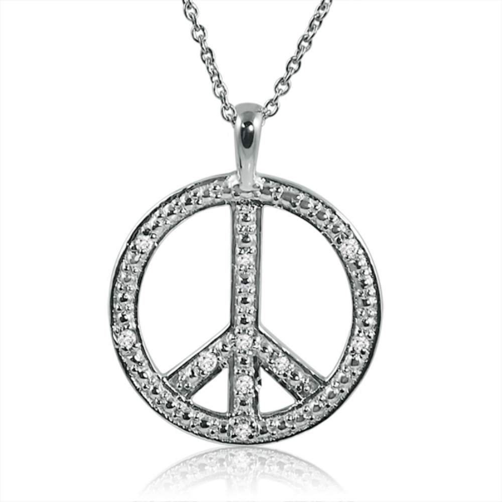 "Diamond Peace Sign Necklace in Sterling Silver on an 18"" Chain"