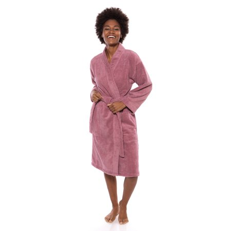 Texere Women's Organic Cotton Terry Robe - Slim Fit Bathrobe for Her (Megeve) Cotton Extra Long Robe