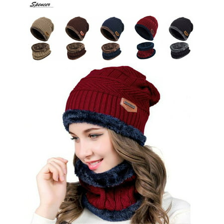 c9261b152628e Spencer - Spencer 2Pcs Winter Beanie Hat Scarf Set Lined Warm Thick Knit  Skull Cap for Men Women Kids