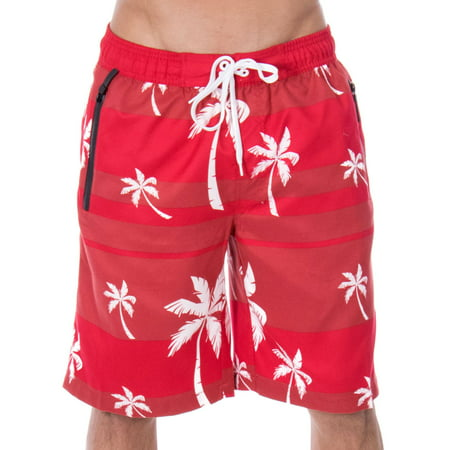 Men's Alvin Striped Palm Tree Print Swim Trunks, Burgundy, S