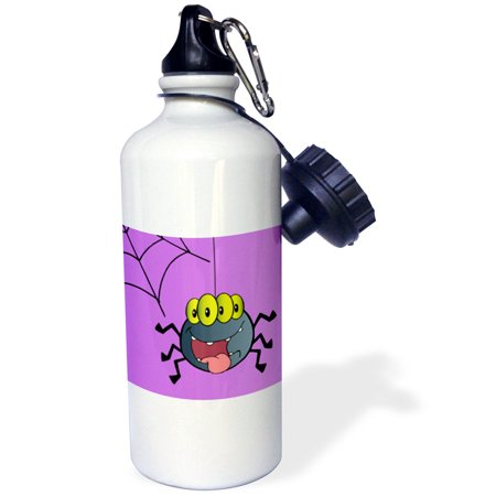3dRose Cute Happy Spider and Web On Purple For Halloween Or Everyday Spider Lovers Insect Bug Cartoon, Sports Water Bottle, 21oz