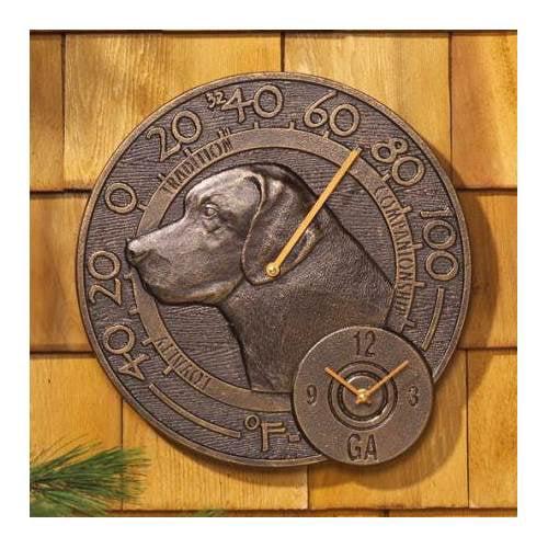 Labrador Thermometer Clock Combo in Antique Copper