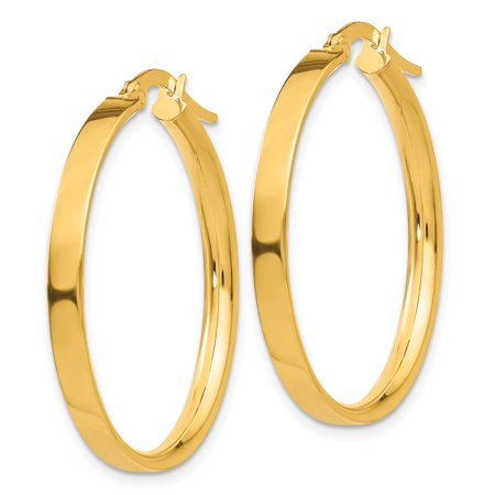 454d8a7987cd5 14k Yellow Gold 3mm Large Hoop Earrings Ear Hoops Set Round Classic ...