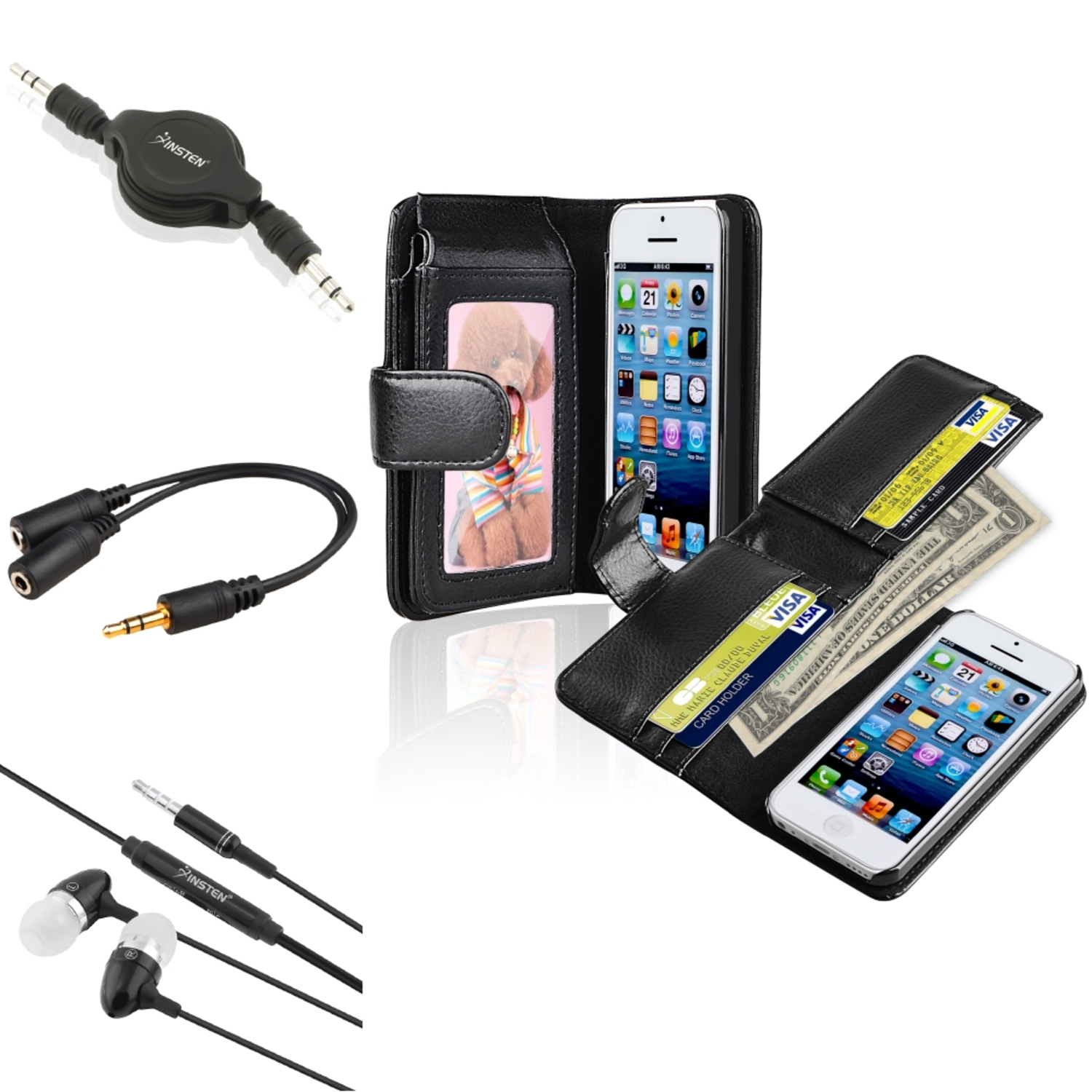 Insten All Black Wallet Leather Case 3.5mm Audio Cable Splitter Headset For iPhone 5C