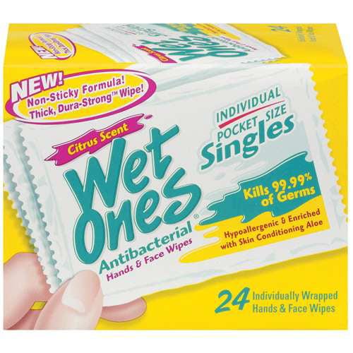 Wet Ones Antibacterial Citrus Scent Singles 24 Ct