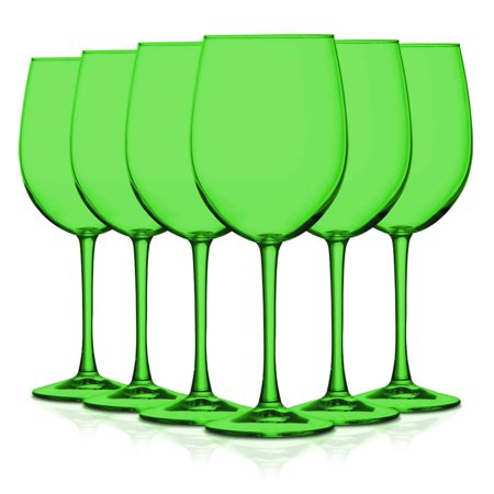 Light Green Full Accent 19 oz Cachet Wine Glasses - Set of 6 by TableTop King - Additional Vibrant Colors Available ()