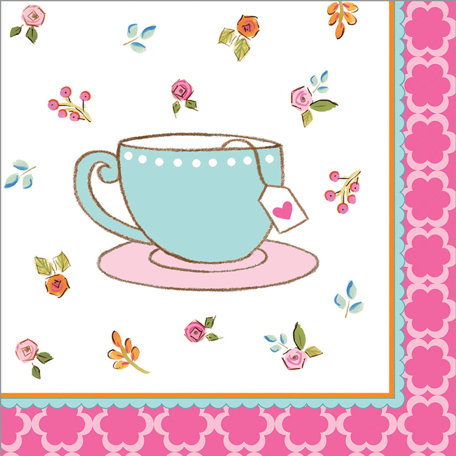 """Club Pack of 192 Tea Time Premium 3-Ply Disposable Party Beverage Napkins 5"""""""