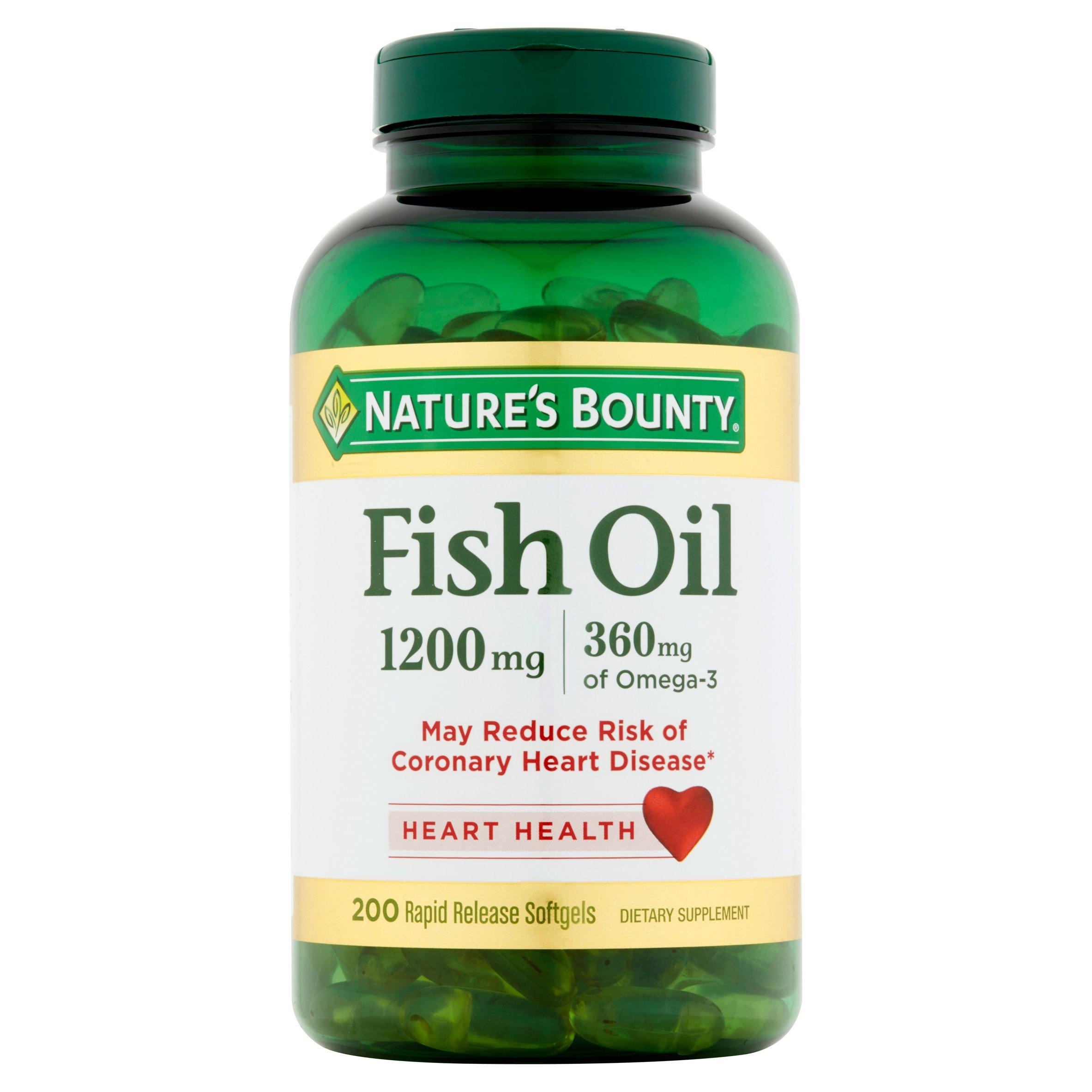 Nature's Bounty Fish Oil Omega-3 Softgels, 1200 Mg, 200 Ct