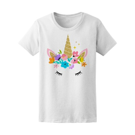 Unicorn Cute Face With Flowers Tee Women's -Image by Shutterstock
