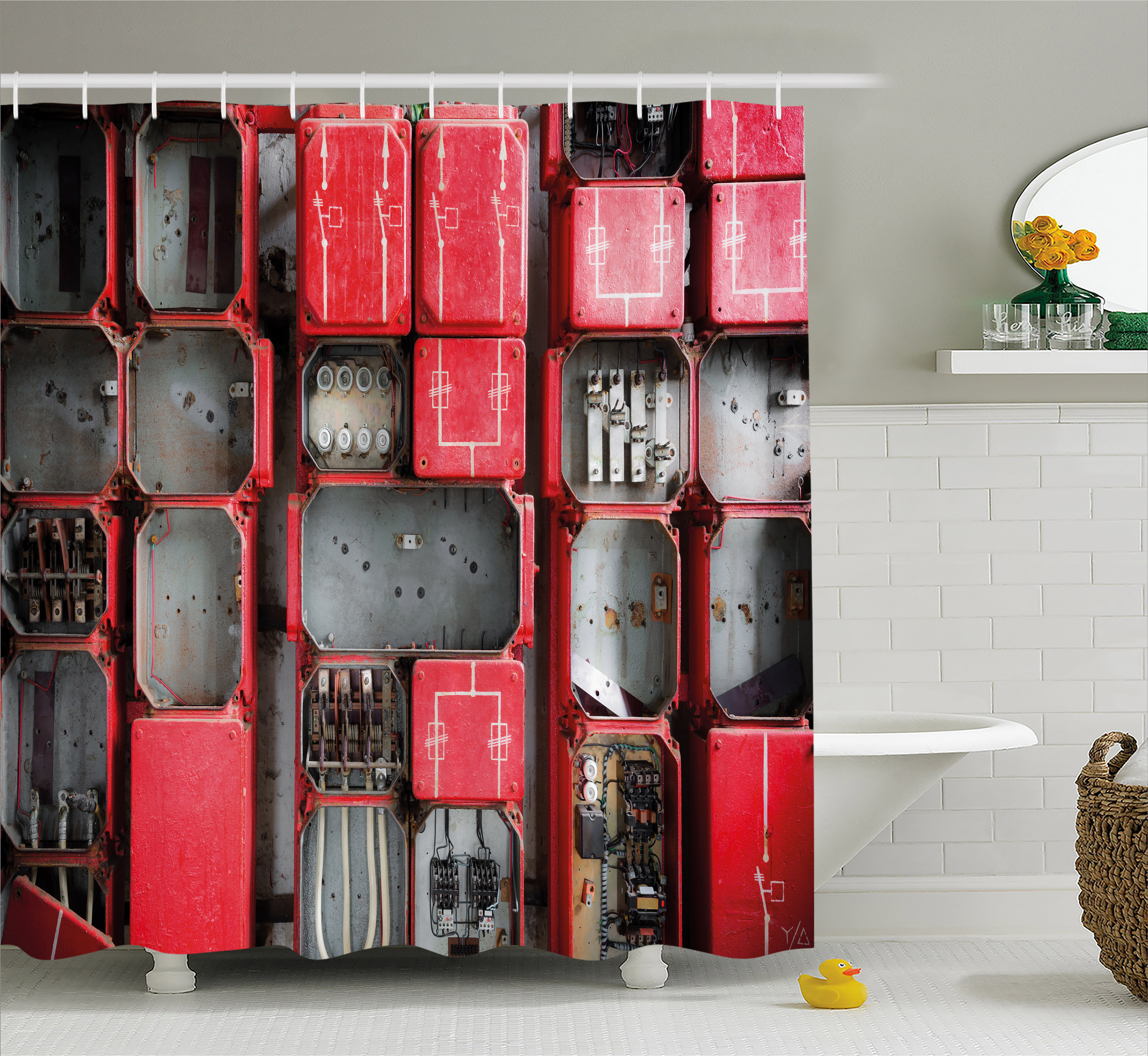 Industrial Decor Shower Curtain, Fuse Cabinet Close Up Industrial Type Junction Cables Box Electricity, Fabric Bathroom Set with Hooks, 69W X 84L Inches Extra Long, Red White Grey, by Ambesonne