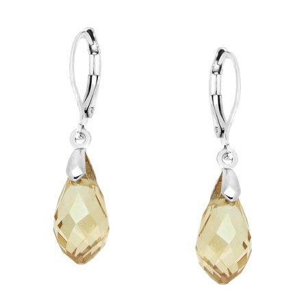 Pear Shaped Glass (Falari Glass Crystal Pear Shaped Earring Light Citrine)