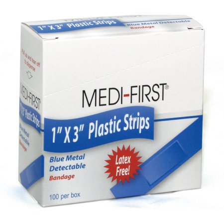 Medique Medi-First Blue Metal Detectable Bandages, 1 x 3 Inch Woven Strip-Box of 100 - Metal Detectable Bandage