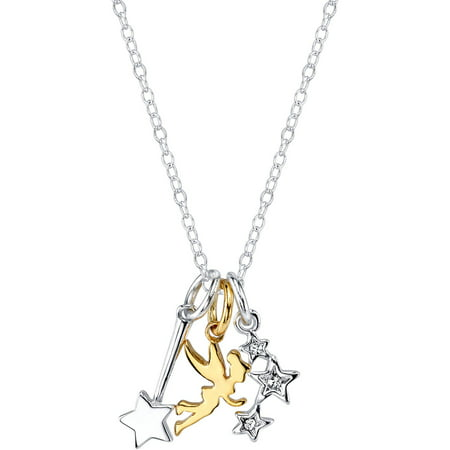 - Disney Silver-Tone Two-Tone Tinkerbell Charm Necklace, 18