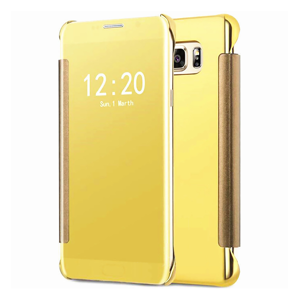 Samsung Galaxy S7 Edge Mirror View Clear Slim Flip Case Cover Gold