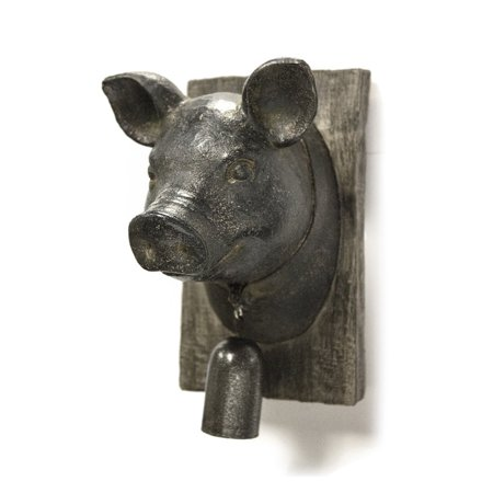 Sagebrook Home Pig Head With Bell Wall Plaque