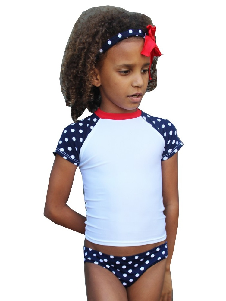 Azul Girls White Navy Tic Tac Dot Print Short Sleeve UPF 50+ Rash Guard