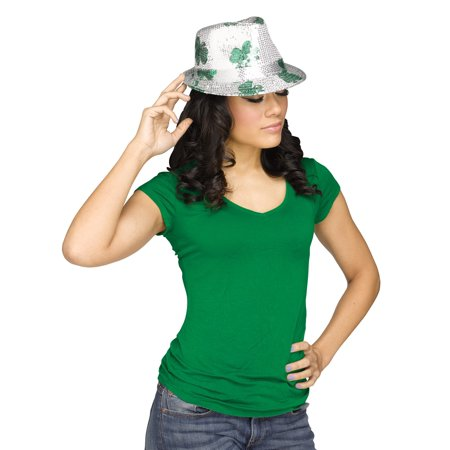 Shamrock Green & Silver St Patrick's Day Party Hat Sequin Fedora, One Size - Halloween Song Silver Shamrock