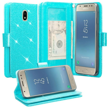 For Tracfone Samsung Galaxy J7 Crown (S767VL) Case Case Glitter Leather Wallet Case [ID&Credit Card Slots] Flip Phone Cases- Teal -  NOIR