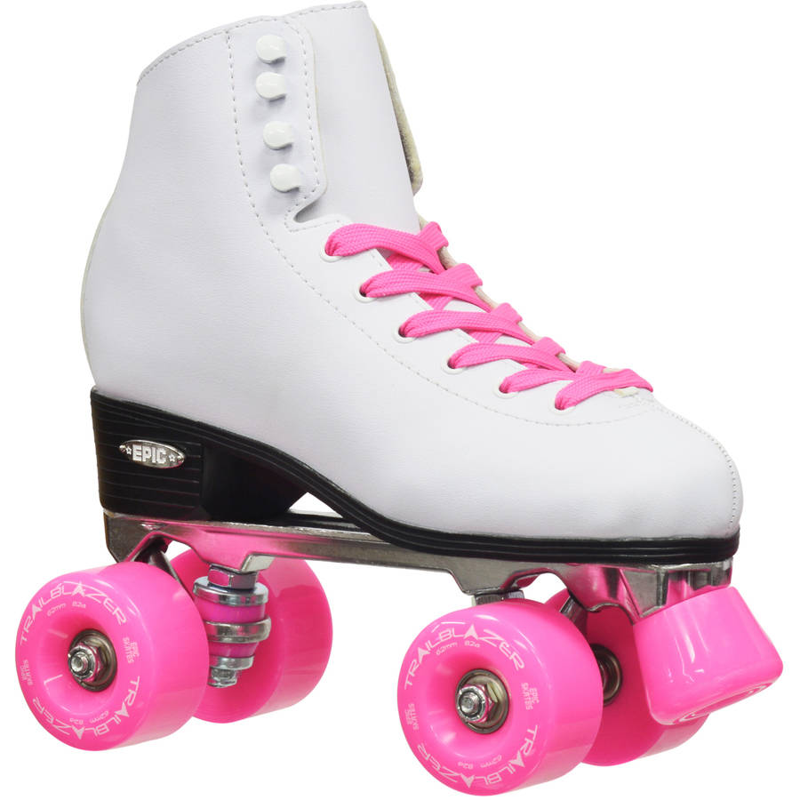 Epic Classic White and Pink Quad Roller Skates
