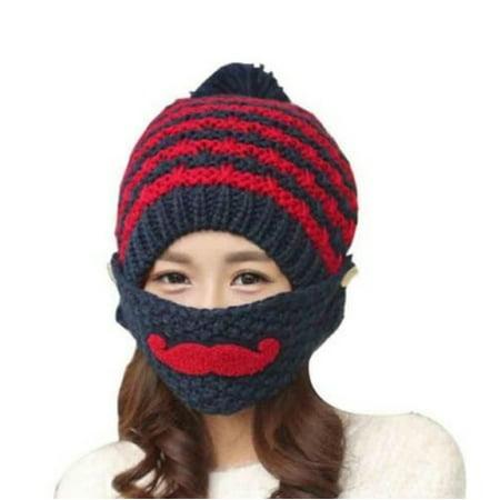 5b230c9d5c6 PaZinger - PaZinger Women s Pompom Cap Women Winter Knitted Crochet Beanie  Hat Beard Face Mask Set Snow Ski Hat - Walmart.com