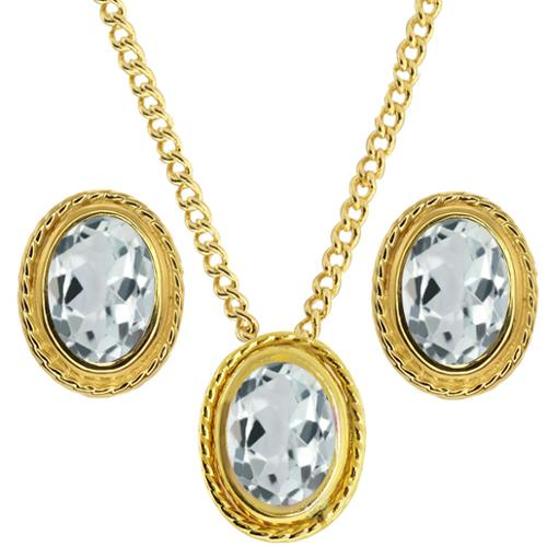 2.16 Ct Sky Blue Aquamarine 925 Yellow Gold Plated Silver Pendant Earrings Set