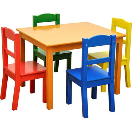 american kids 5 piece wood table and chair set multiple colors. Black Bedroom Furniture Sets. Home Design Ideas